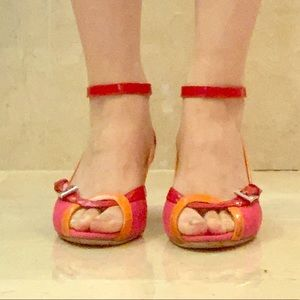 Prada Ankle Wrap Wedge Red Orange Pink 36 1/2
